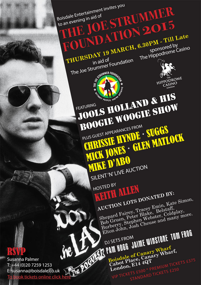 The Joe Strummer Foundation Gala Dinner Fundraiser 2015